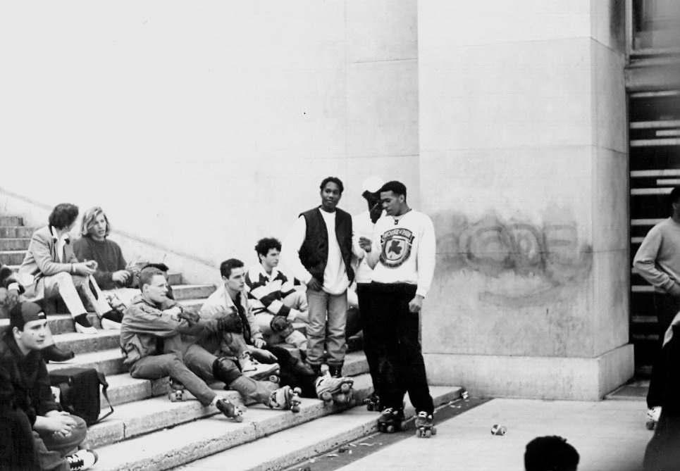 Skaters at Paris near Eiffel Tower